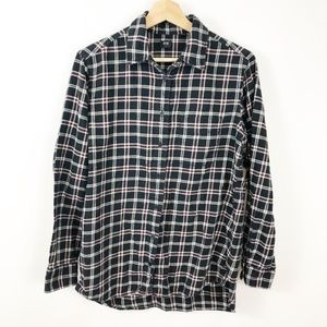 Uniqlo Plaid Flannel Button Down Shirt Black Check